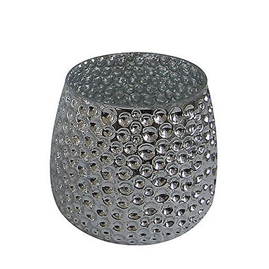 Metallic Silver Glass Holder