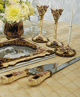 Elegant Vintage Rose Cake Serving Set