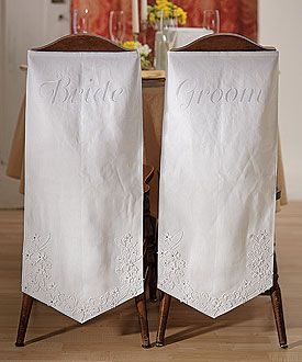 Linen Chair Banners with Embroidered Bride and Groom Inscription