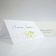 Hearts Filigree Place Card With Fold