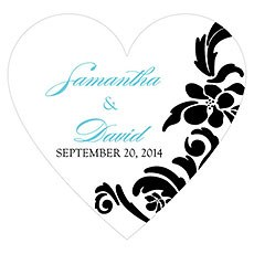 Love Bird Damask Heart Sticker