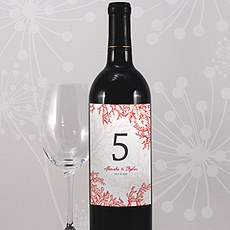 Reef Coral Table Number Wine Label